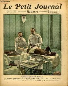Сергей Воронов и его ассистент оперируют собаку. Обложка пажского журнала Le Petit Journal за 22 октября 1922 года