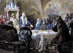 Церковный собор 1654 года (патриарх Никон представляет новые богослужебные тексты). Алексей Кившенко. 1880 год
