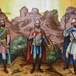 Великие князья Рюрик, Игорь и Святослав. Роспись Грановитой палаты Московского Кремля