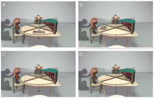 Рис. 1. Вертящийся стол правосудия. Место ребенка — на переднем плане. Кукла-жертва располагается слева от него, а кукла-вор — напротив. Справа недоступная пещера. Ребенок и «вор» могут поворачивать стол по часовой стрелке, потянув за веревку (Riedl et al., 2015)