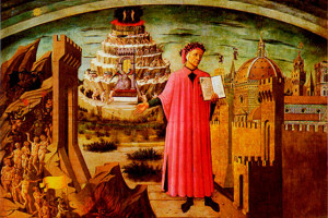 Доменико ди Микелино «Данте и Божественная комедия» (1465). Фрагмент фрески