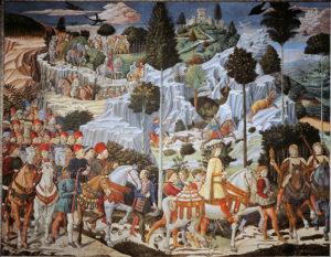 Беноццо Гоццоли. Прибытие волхвов в Вифлеем. Роспись в капелле палаццо Медичи — Риккарди. Флоренция, 1459–1460 годы В образе волхвов и участников процессии изображены члены семьи Медичи и их современники.
