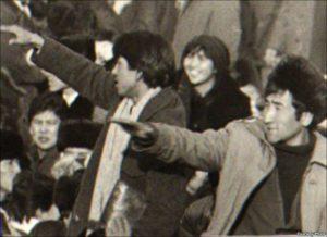 Демонстрация казахской молодежи на площади Брежнева, ныне площадь Республики. Алматы, декабрь 1986 года.